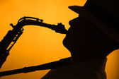 Saxophone Performer Silhouette — Stock Photo