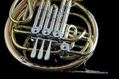 French Horn Isolated On Black — Stock Photo
