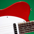 Electric Guitar Isolated On Green — Stock Photo