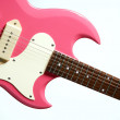 Pink Electric Guitar Isolated on White — Stock Photo