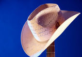 Western hat on Guitar Neck Against Blue — Stock Photo