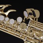 Saxophone Soprano Isolated on Black — Stock Photo