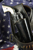 Six Gun in Holster on Flag — Stock Photo