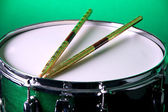 Green Snare Drum On Green — Stock Photo