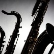 Saxophones Isolated in Silhouette — Stock Photo