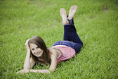 Teenage Girl Female on Grass — Stock Photo