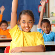 School children with raised hands in classroom - Foto Stock