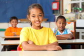 Primary school children at desks — Stock Photo