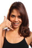 Call me hand signal by woman — Stock Photo