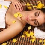 Woman lying in health spa asleep — Stock Photo