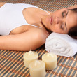 Eyes closed in health spa — Stock Photo