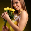 Yellow roses and yellow dress — Stock Photo