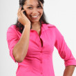Smiling office worker on phone — Stock Photo