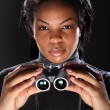 Female secret agent spy holding binoculars — Foto de Stock