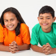 Happy smiles from young boy and girl — Stock Photo