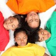 four chrildren pretending to sleep — Stock Photo