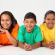 Three happy young school friends — Stock Photo