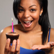 Happy birthday surprise for beautiful young girl — Stock Photo