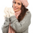 Royalty-Free Stock Photo: Beautiful happy young woman in winter woollies