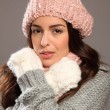 Woman wearing warm winter woollies — Stock Photo