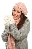Beautiful happy young woman in winter woollies — Stock Photo