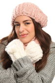 Beautiful young woman warm in winter woolly knit — Stock Photo