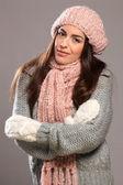 Woman in warm winter knit wear — Stock Photo
