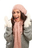 Happy laugh in winter wool fashion — Stock Photo