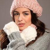 Woman wearing warm winter woollies — Stock Photo