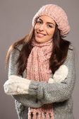 Happy smile woman in warm clothes — Stock Photo