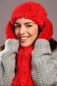 Woman in warm festive woolly knits — Stock Photo