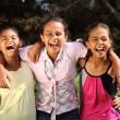 Girls share fun moment of laughter — Stock Photo