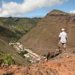 Hiker on trail on St Helena Island — Stock Photo
