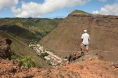 Hiker on trail on St Helena Island — Stock Photo