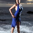 Sexy sea goddess in blue dress — Stock Photo