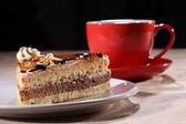 Tårtbit dessert med kaffe för rasttid — Stockfoto