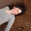 Problem teenager girl takes overdose of pills — Stock fotografie