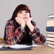 Young student girl tired taking a homework break — Stock Photo #6132791