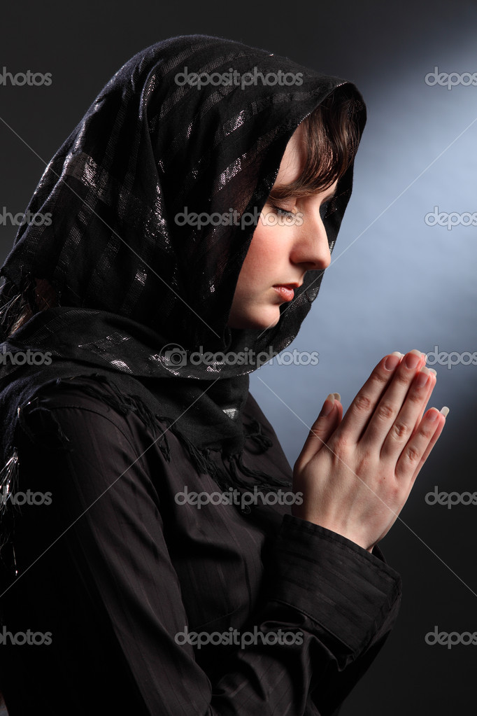 Beautiful Woman In Headscarf Praying Eyes Closed Stock