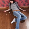 Royalty-Free Stock Photo: Suicide attempt from young girl lying on floor