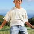 Smiling boy sitting on fence — Stock Photo #6163682