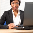Portrait of beautiful young black business woman — Stock Photo