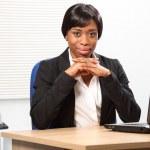 Stylish confident beautiful black business woman — Stock Photo