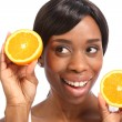 Beautiful african american woman healthy fruit — Stock Photo #6166711