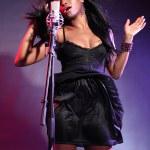 Beautiful african american girl music singer — Stock Photo