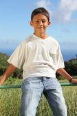 Smiling boy sitting on fence — Stock Photo