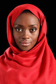 Beautiful young black religious woman in hijab — Stock Photo