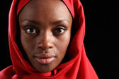 Headshot beautiful black african woman in hijab — Stock Photo