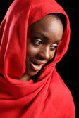 Beautiful happy African American muslim girl hijab — Stock Photo