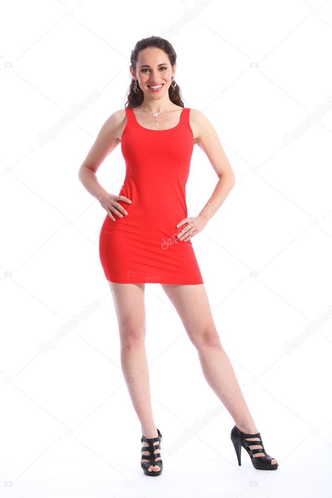 Sexy woman in short red dress black high heels — Stock Photo ...